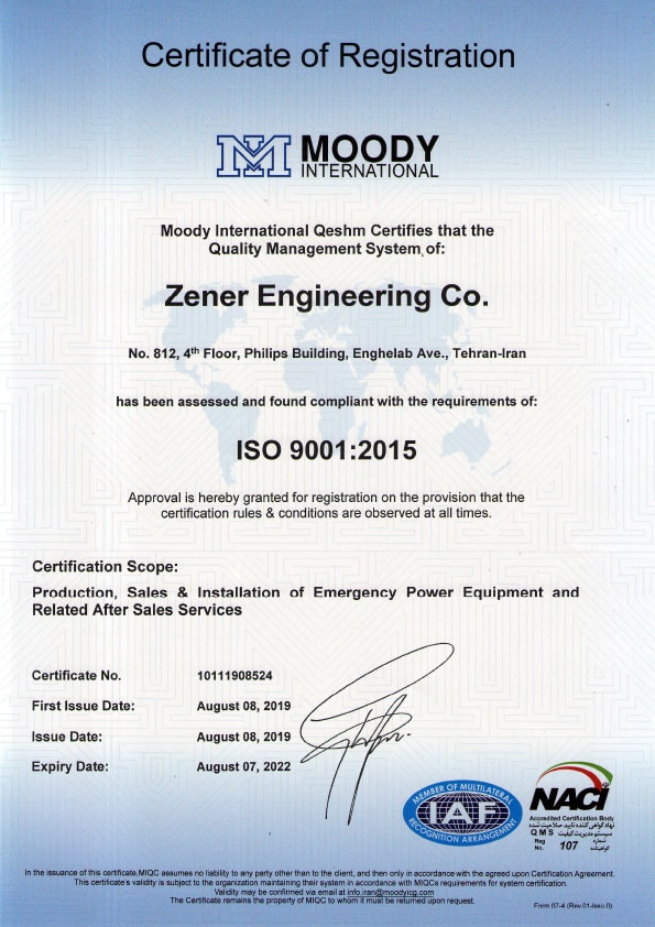 Quality Management System ISO 9001:2015 Certificate